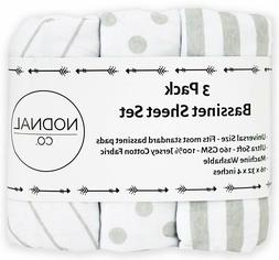 3 Pack Bassinet Fitted Sheet Set 100% Jersey Gray Cotton Bab