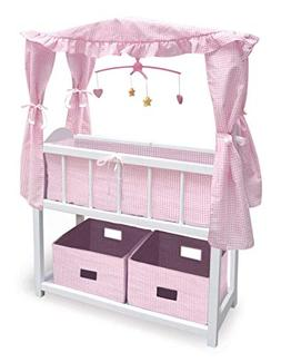 Badger Basket Canopy Doll Crib with Baskets, Bedding & Mobil
