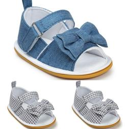 Baby Girl Shoes Bow Stripe Butterfly Knot Toddler Soft Sole