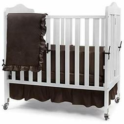 Babydoll Bedding Sets Solid Portable Crib Bedding, Brown