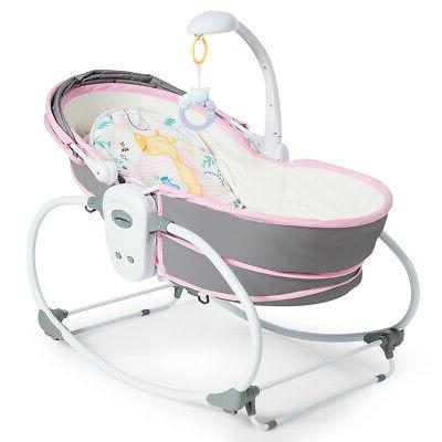 5 in 1 Portable Baby Rocking Bassinet Multi-Functional Crib