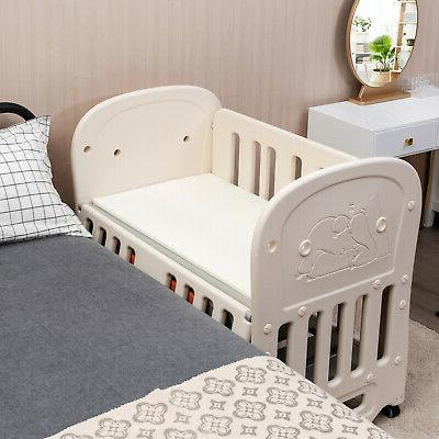 6-in-1 Bed Crib w/ Space Storage Convertible Playard