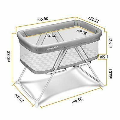 MiClassic mesh 2in1 Stationary&Rock Bassinet One-Second Travel Crib ...