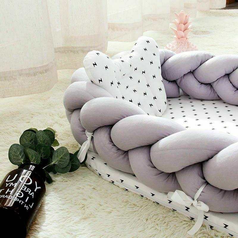 Baby Bassinet Bed Cradle Bumper Beds Sleeping Knit Crib