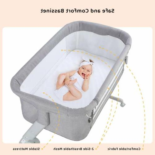 Baby Bassinet Infant Crib Height Adjustable Bed