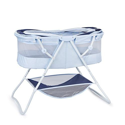 Big Oshi Baby - Bassinet for Boys Girls - Perfect for Bedside, Indoors, or Outdoors - for Travel - Canopy Netting - Wood Navy