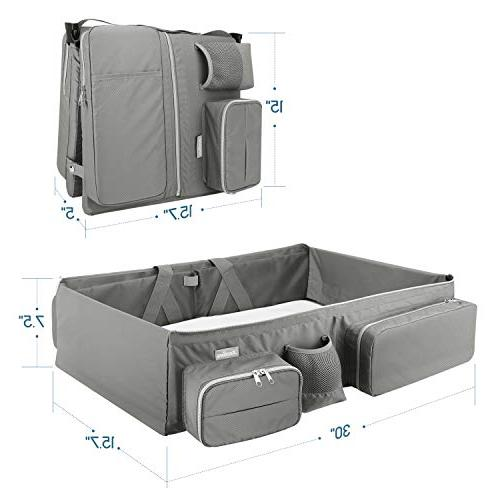 Zooawa Travel 3-in-1 Diaper Bag Collapsible Changing Travel Use,