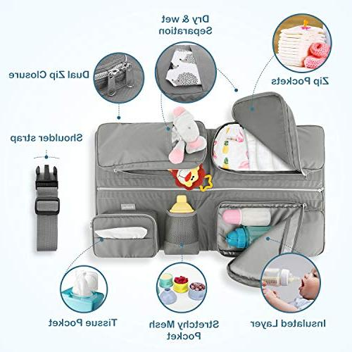 Zooawa Foldable Travel Bassinet, 3-in-1 Diaper Bag Portable Collapsible Changing Station for Travel