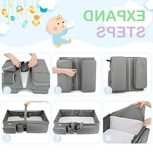 Zooawa Foldable Bassinet, 3-in-1 Bag Portable Collapsible Changing Station for Travel Outdoor