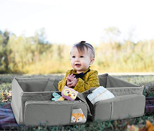 Zooawa Foldable Travel 3-in-1 Collapsible Bassinet Changing for Travel Gray