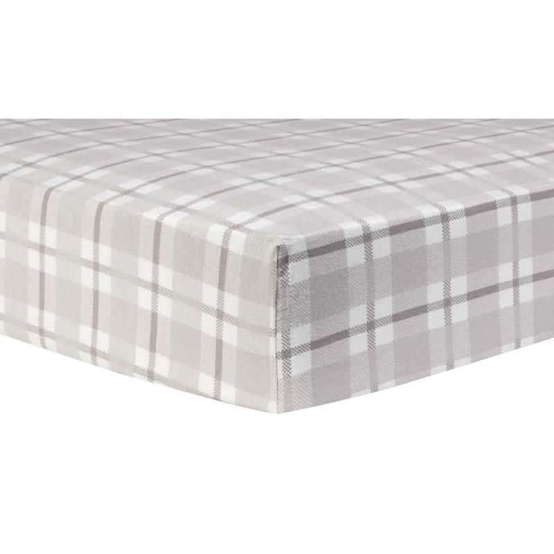 gray and white plaid deluxe flannel fitted