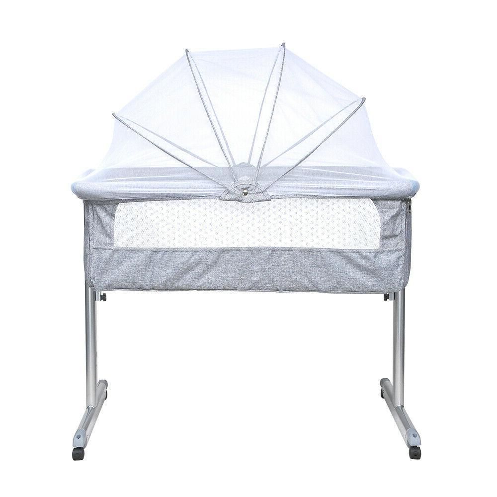 Portable Bed Sleeper Infant Crib W/ Grey New