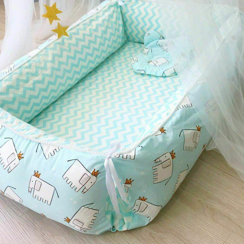 Portable and Pillows for Baby Bed Cotton
