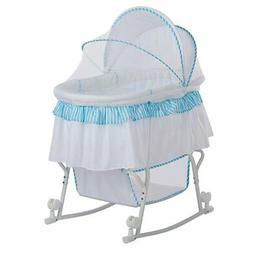Dream On Me Lacy Portable 2-in-1 Bassinet and Cradle - Blue/