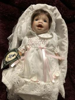 Geppeddo Porcelain Baby Doll Bassinet Brown Hair Baby Makayl