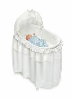 Badger Basket  White  Long Skirt Portable Bassinet Cradle wi